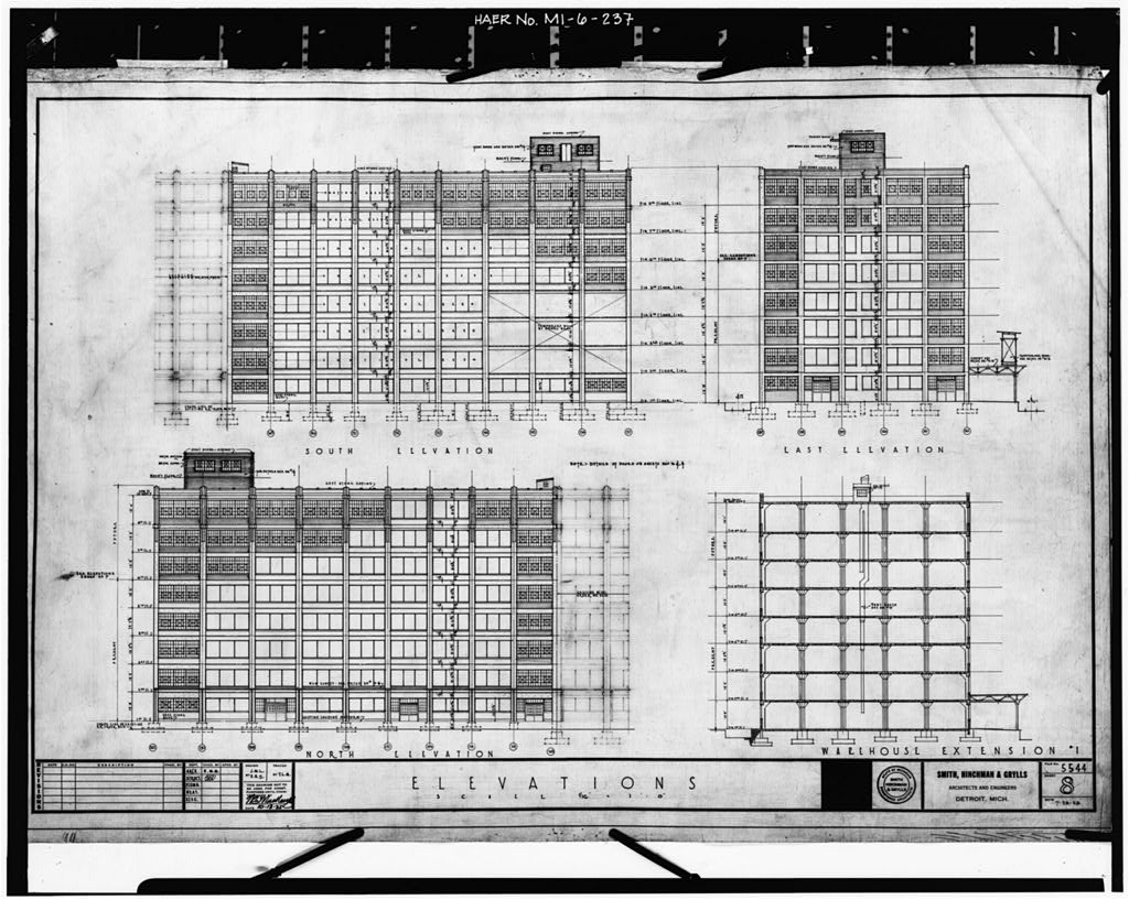 Dodge hamtramck plant warehouse building extension elevations 1925